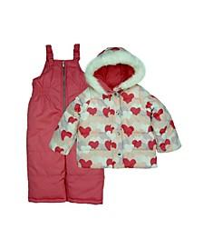 Toddler Girls Heart Print Two Piece Snowsuit