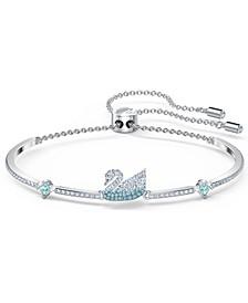 Silver-Tone Crystal Swan Bracelet