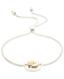 Logo Disc Bolo Bracelet in Sterling Silver & 18k Gold-Plate