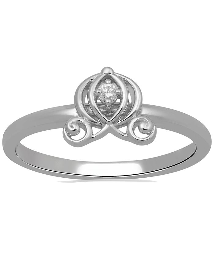 Enchanted Disney Fine Jewelry - Diamond Accent Cinderella Carriage Ring in 10k White Gold