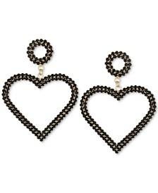 Gold-Tone Crystal Heart Drop Earrings
