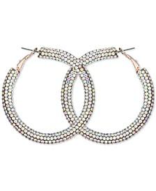 Silver-tone And Aqua Sparkle Hoop Earring