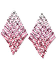 Silver-Tone Ombré Crystal Mesh Kite Statement Earrings