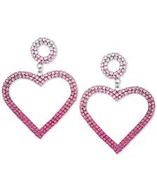 Silver-Tone Ombré Crystal Heart Drop Earrings