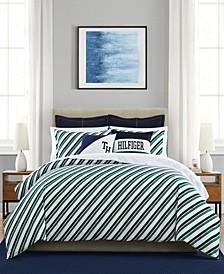 Tommy Tie Stripe Full/Queen Mini 3 Piece Comforter Set