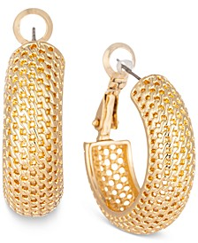 Gold-Tone Patterned Oval Hoop Earrings, Created for Macy's