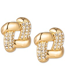 Gold-Tone Pavé Square Stud Earrings, Created for Macy's