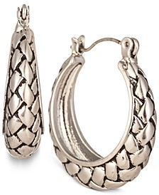 "Silver-Tone Braided Small Hoop Earrings, 1"", Created for Macy's"