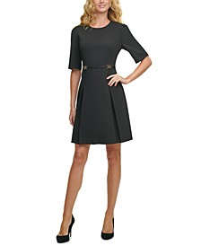 Petite Elbow-Sleeve Fit & Flare Dress