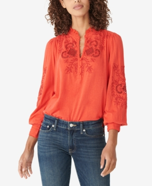 Lucky Brand Floral Embroidered Knit Top In Molten Lava