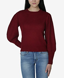 Juniors' Puff-Sleeved Sweater