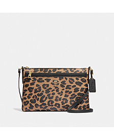 COACH East/West Crossbody With Pop-Up Pouch With Leopard Print