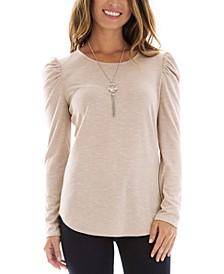 Juniors' Puffed-Shoulder Cutout Top