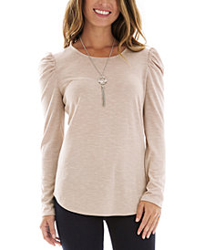 BCX Juniors' Puffed-Shoulder Cutout Top