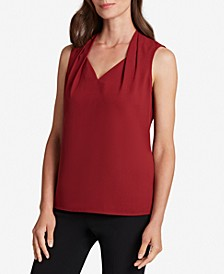 Pleated-Neck Sleeveless Top