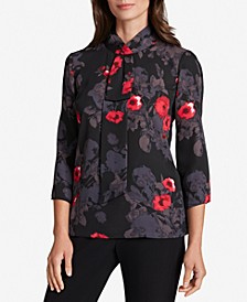 Floral-Print Scarf-Neck Top