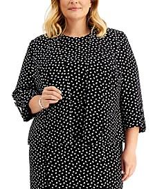 Plus Size Printed Roll-Tab-Sleeve Blazer