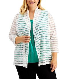 Kasper Plus Size 3/4-Sleeve Crochet Cardigan