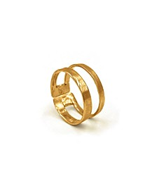 Women's 14K Gold Plated Double Band Adjustable Ring