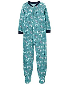 Big Boy  1-Piece Video Games Fleece Footie PJs