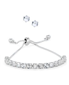 Fine Silver Plated Cubic Zirconia Adjustable Bracelet and Stud Earring Set