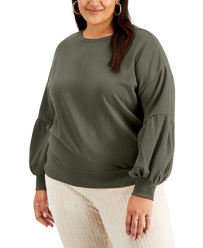 FULL CIRCLE TRENDS - Trendy Plus Size Puff-Sleeve Sweatshirt