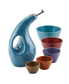 Cucina EVOO Bottle and Nesting Measuring Cup Set, 6-Piece, Assorted Colors