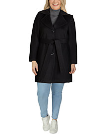 Jones New York Plus Size Notched-Collar Walker Coat