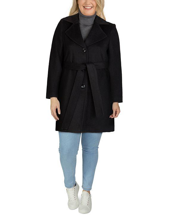 Jones New York Plus Size Notched-Collar Walker Coat