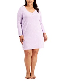 Plus Size Long-Sleeve Cotton Nightgown, Created for Macy's