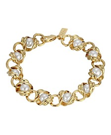 Women's 14K Gold Dipped Chain with Imitation Pearl Inset Link Bracelet
