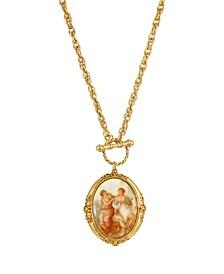 Women's Gold Tone Girls Oval Stone Locket Necklace