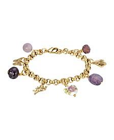 Women's Gold Tone Purple Beaded Chain Charm Bracelet
