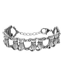 Women's Silver Tone Crystal Multi Double Cat Chain Bracelet