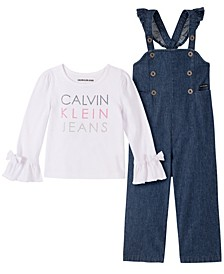 Toddler Girls Two-Piece Denim Overall with Long Sleeve T-shirt