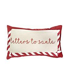 """Larry Letters to Santa Glitter Mandee Velvet Pillow, 20"""" x 12"""""""