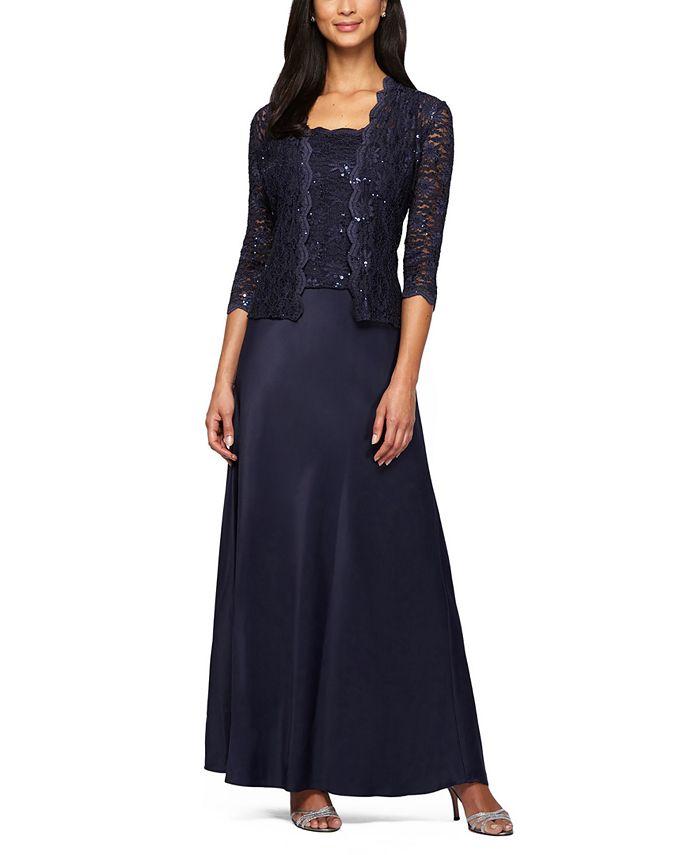 Alex Evenings - Petite 2-Pc. Lace Jacket & A-Line Dress Set