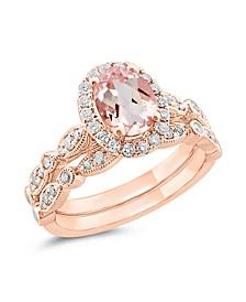 Gemstone Bridal Morganite (1 ct. t.w.) & Diamond (1/2 ct. t.w.) Bridal Set in 14k Rose Gold