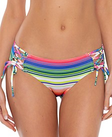 Santa Catarina Striped Lace-Up Bikini Bottoms