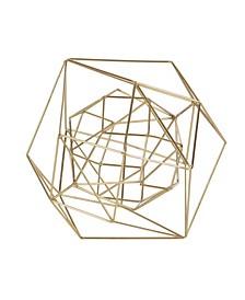 Metallic Metal Modern Geometric Orb Sculpture