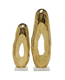 Tall Abstract Metal Tree Trunk Sculptures On Marble Bases, Set of 2