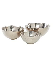 Decorative Jagged Top Aluminum Bowls, Set of 3