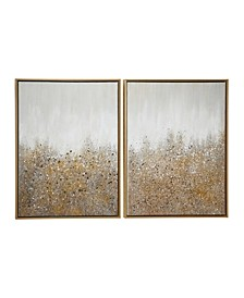 Multimedia and Abstract Art Paintings with Glitter, Set of 2
