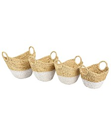 Large, Oval Dip-Dyed Water Hyacinth Wicker Storage Baskets with Round Handles, Set of 4