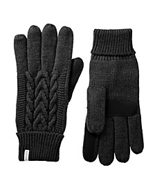 Women's Lined Cable Knit Touch ScreenGloves