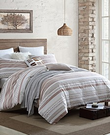 Exceptional Talise Dobby Weave Slub Stripe 3 Piece Comforter Set, Full/Queen