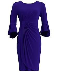 Petite 3/4-Sleeve Side-Ruched Sheath Dress