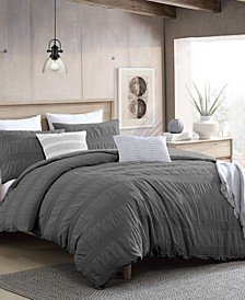 Lush Moselle Cotton Ruched Waffle Weave 3 Piece Duvet Cover Set, Full/Queen