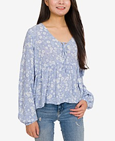 Juniors' Printed Tie-Front Blouse