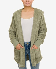 Juniors Plush Hooded Cardigan